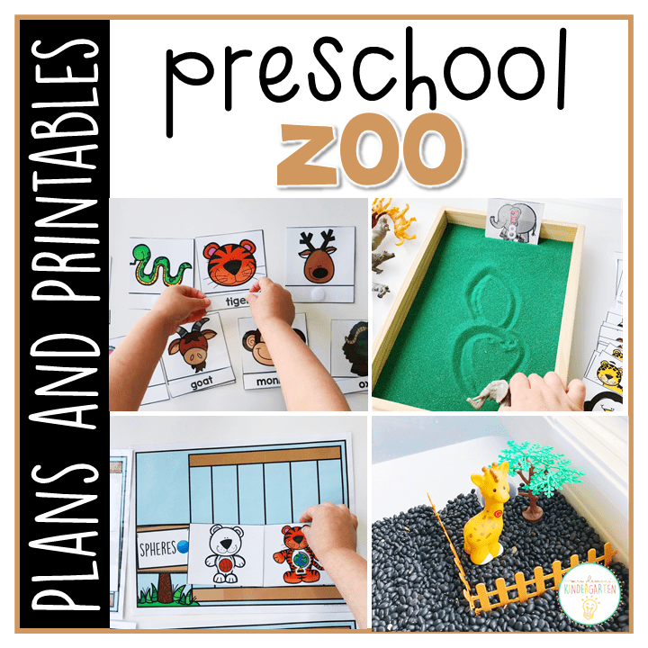 Tons of zoo themed activities and ideas. Weekly plan includes books, literacy, math, science, art, sensory bins, and more! Perfect for spring in tot school, preschool, or kindergarten.