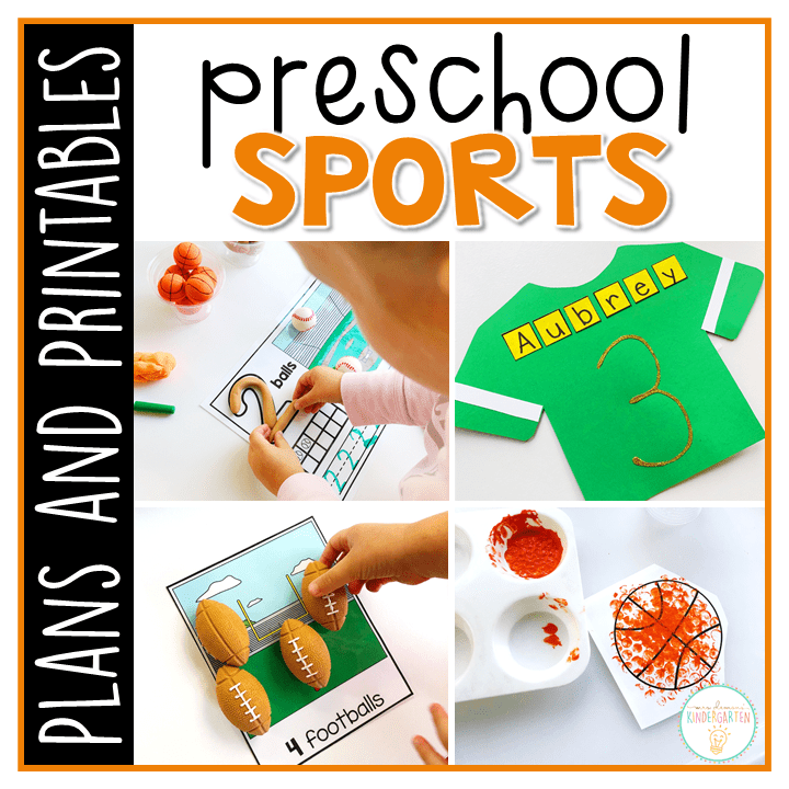 Tons of sports themed activities and ideas. Weekly plan includes books, literacy, math, science, art, sensory bins, and more! Perfect for tot school, preschool, or kindergarten.