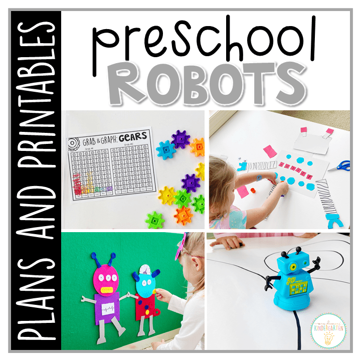 Tons of robot themed activities and ideas. Weekly plan includes books, literacy, math, science, art, sensory bins, and more! Perfect for tot school, preschool, or kindergarten.