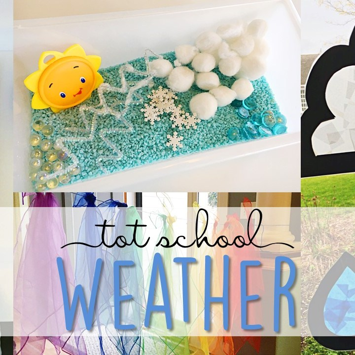 Tons of weather themed activities and ideas. Weekly plan includes books, fine motor, gross motor, sensory bins, snacks and more! Perfect for tot school, preschool, or kindergarten.