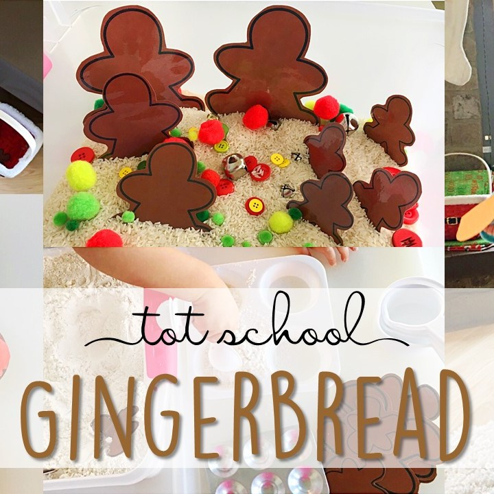 Tons of gingerbread themed activities and ideas. Weekly plan includes books, literacy, math, science, art, sensory bins, and more! Perfect for Christmas time in  tot school, preschool, or kindergarten.