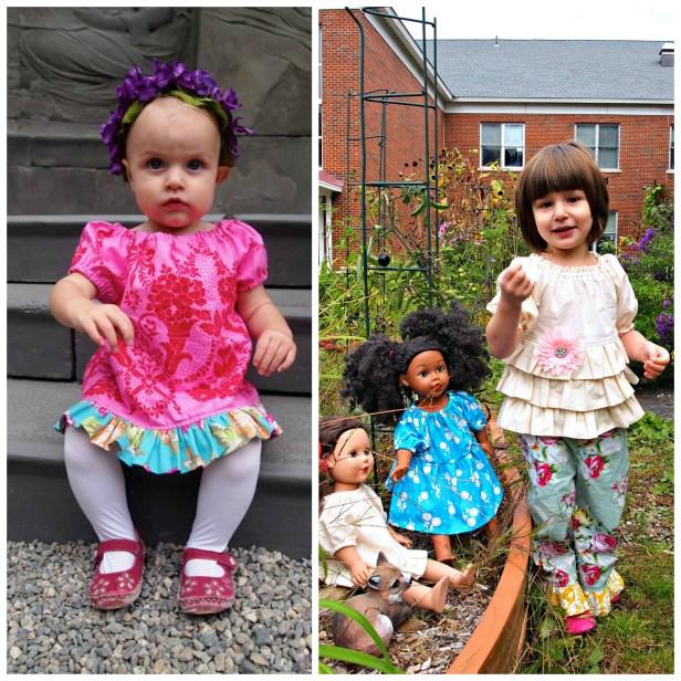 "Scientific Seamstress's ""Portrait Peasant"" top/dress variations on children and dolls. Sis Boom fabrics."