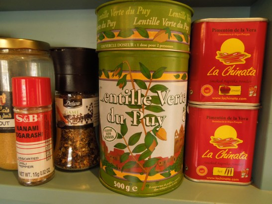 Image of a decorative tin of Puy lentils on a shelf