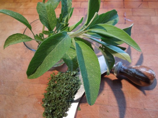 Image of sage leaves and chopped sage