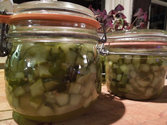 Image of sweet pickled cucumbers in kilner jars