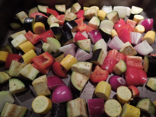 Image of chunks of vegetables in a pan