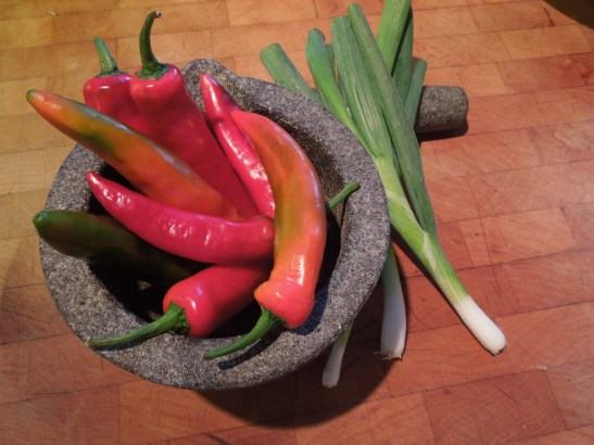 Image of chillies and spring onions