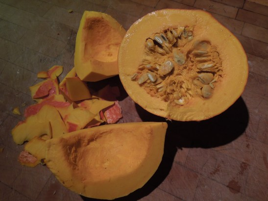 Image of pumpkin, halved and peeled