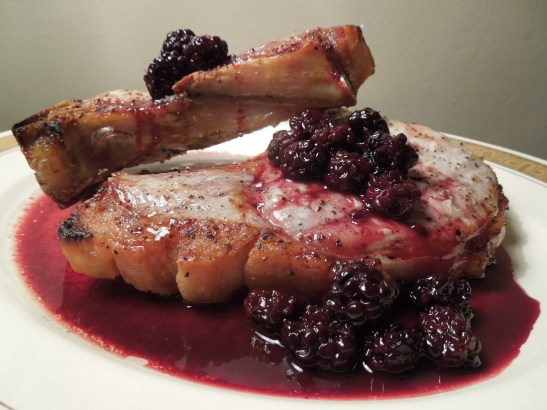 Image of pork chops with spiced blackberry sauce