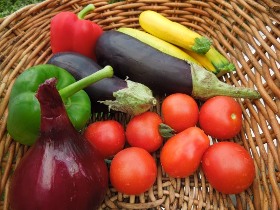 Image of a basket of Mediterranean vegetables