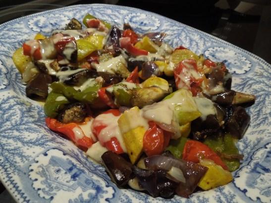Image of roasted med veg with tahini dressing