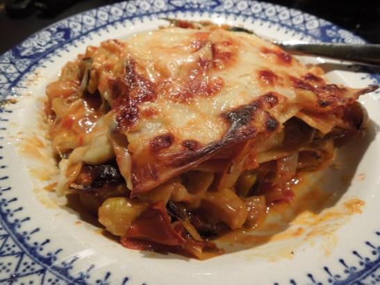 Image of serving of lasagne