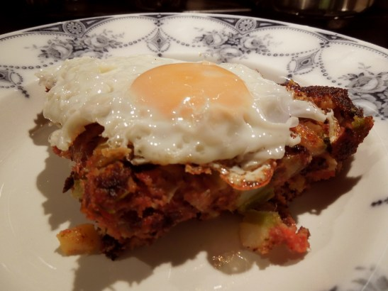 Image of hash served with fried egg