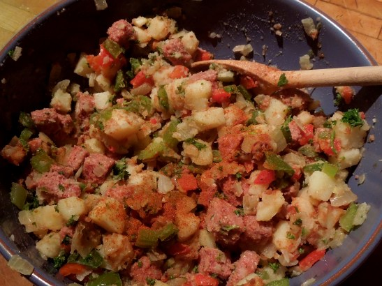 Image of the hash mix ready for cooking