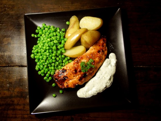 Image of chilli-glazed salmon with veg