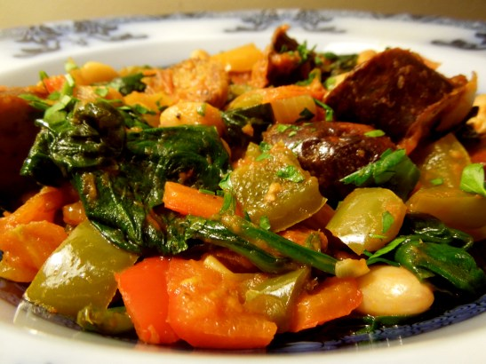 Image of sausage and bean casserole, served