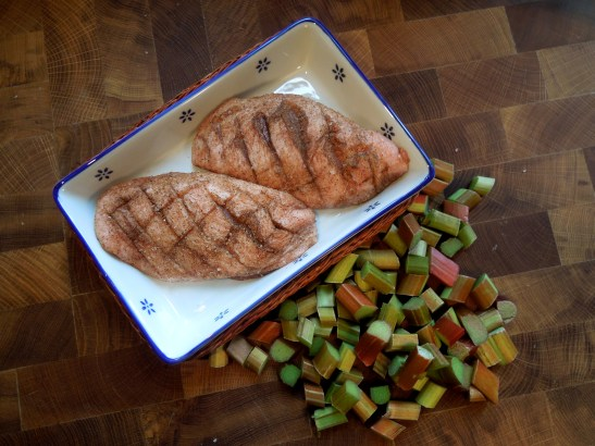Image of duck with spiced rub and rhubarb