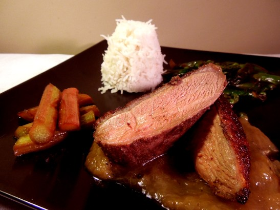 Image of spiced duck with rhubarb, served
