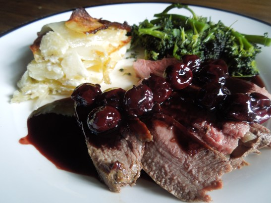 Image of venison with cherries
