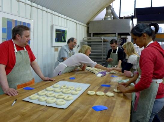 Image of class members making bagels