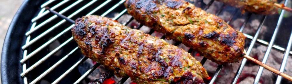 Image of lamb kofta kebabs on the barbecue