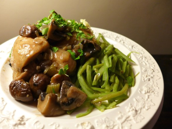 Image of chicken with chestnuts and mushrooms, served
