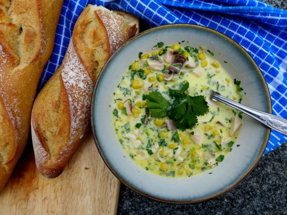 Image of smoked chicken bacon and sweetcorn chowder