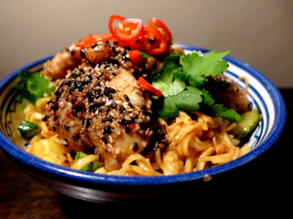 Image of sesame-crusted miso cod with noodles