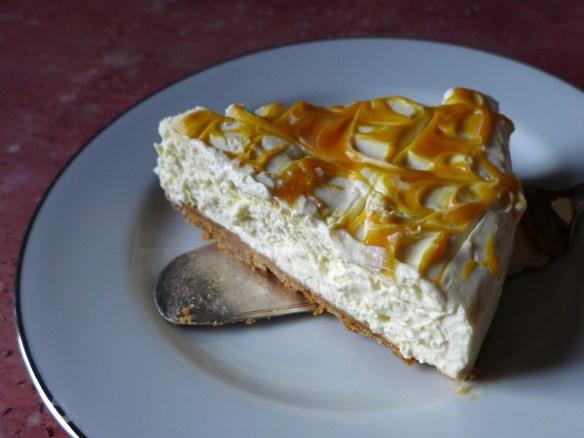 Image of a slice of lemon cheesecake
