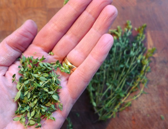 Image of thyme leaves, picked