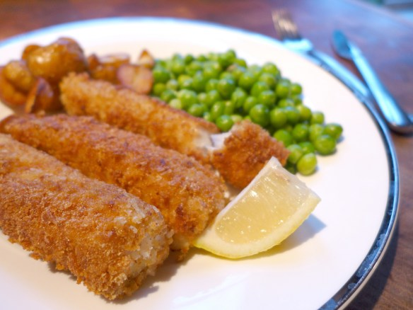 Image of fish fingers, served