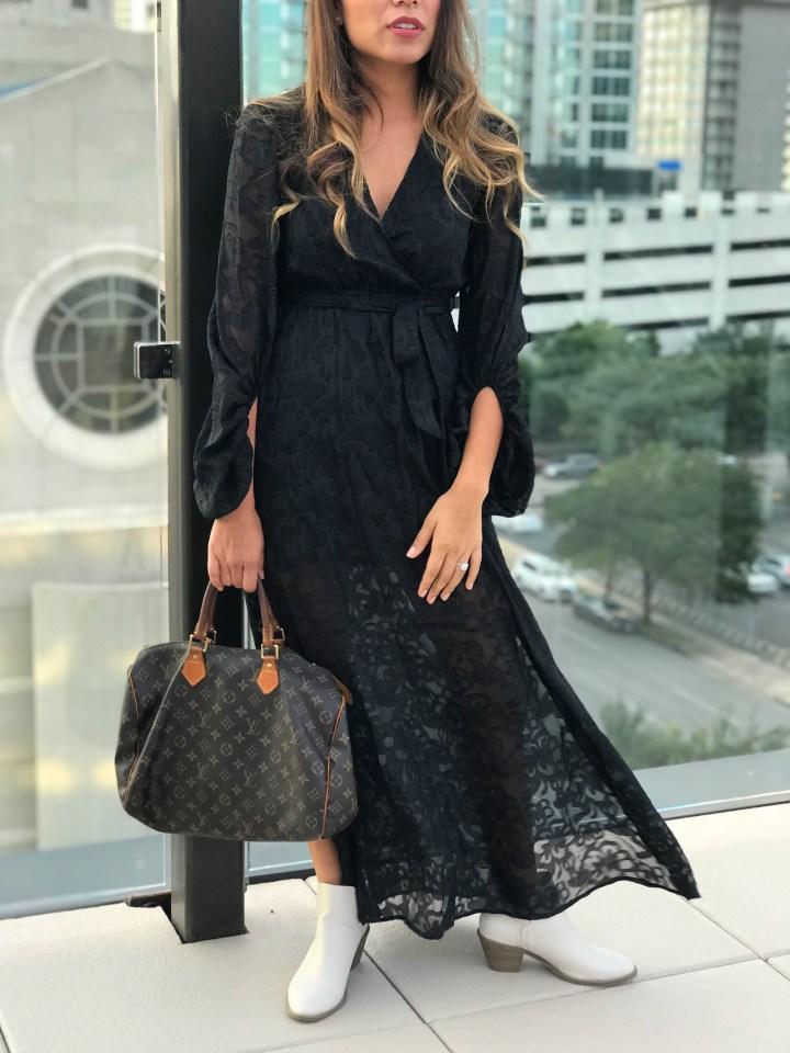 Black Burnout Maxi Dress