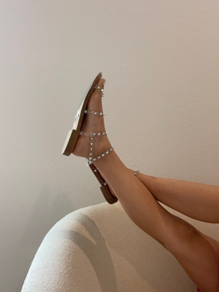 Clear Studded Sandals