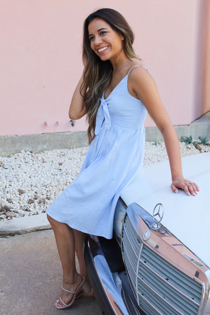 Summer Outfit Idea: Tie Front V-Neck Dress