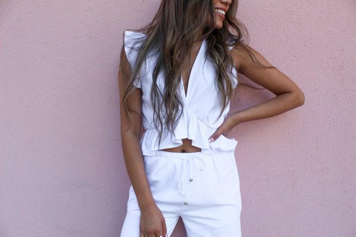 White Two-Piece Pant Set