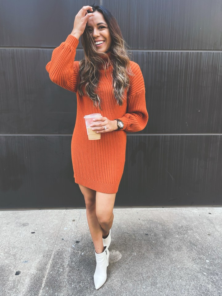 sweater dress with boots