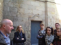 Students listening to tour on the Spanish Civil War, Barcelona.