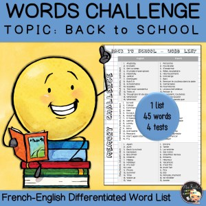 Vocabulary Word List Back to school