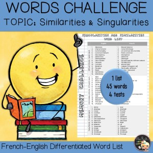 Vocabulary Word List Singularities and Similarities