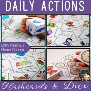 Daily Actions Flashcards & Dice Bundle