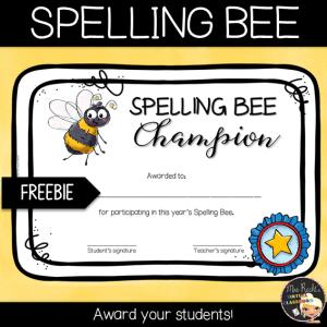 Spelling Bee Certificate Freebie