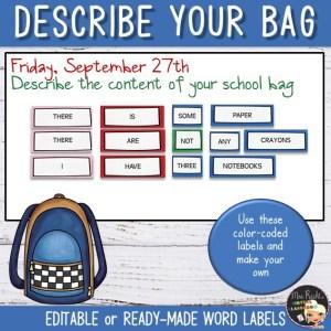 Activité School Bag Etiquettes