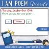 Activité Etiquettes I am poem