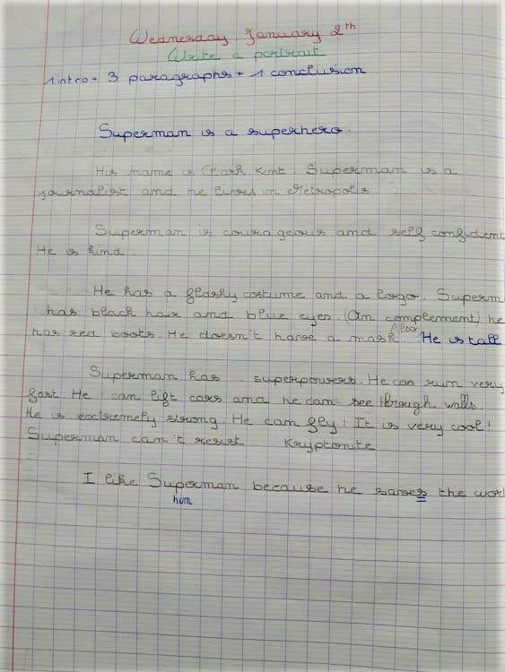 Expression écrite exemple 6e