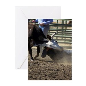 Bulldogging Steer Wrestling Rodeo Action Greeting Cards