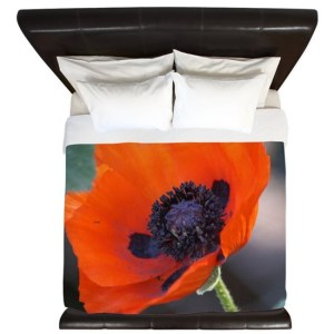 Cheery Poppy Flower Bloom King Duvet