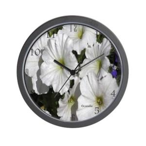 White Petunia Flowers Large Wall Clock