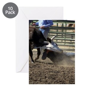 Bulldogging Steer Wrestling Rodeo A Greeting Cards (Pk of 10)