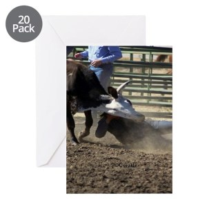 Bulldogging Steer Wrestling Rodeo A Greeting Cards (Pk of 20)
