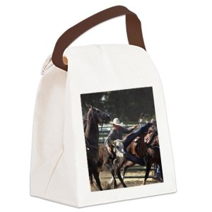 Bulldogging Steer Wrestling Rodeo Canvas Lunch Bag